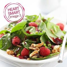 Walnuts are an excellent source of omega-3 fatty acids (shown to lower cholesterol), and they provide a nice alternative for getting omega-3 when you don't care for fatty fish, such as salmon. In this dish, we tossed walnuts in this fruit-filled spinach salad.