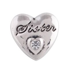 1 PC - 12MM White Sister Rhinestones Silver Charm for Snap Jewelry KS5116-s Cc3517