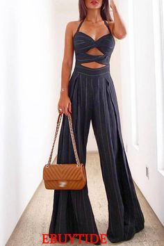 Striped Halter Cutout Pleated Flared Jumpsuit - Just Shop Jumpsuit Casual, Jumpsuit Outfit, Rompers Women, Jumpsuits For Women, Homecoming Outfits, Estilo Fashion, Ny Fashion, Jumpsuit With Sleeves, Stylish Clothes