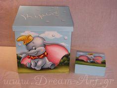 Dream-Art.gr: Κουτιά βάπτισης με τον Ντάμπο το ελεφαντάκι! www.d...