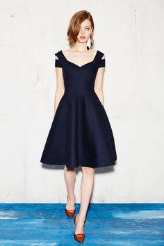 Paule Ka | Resort 2017 fashion collection | Cold shoulder | 50s fit and flare | Dress | Deep blue