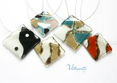 Black Friday Cyber Monday Sale. Fused glass Pendant by Vetrocity, $7.00