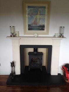 A log burner with a limestone fireplace, and a slate hearth Log Burner Fireplace, Limestone Fireplace, Home Fireplace, Wood Burner, Fireplace Ideas, Granite Hearth, Slate Hearth, Snug Room, Small Lounge