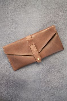 Leather Envelope Clutch Purse