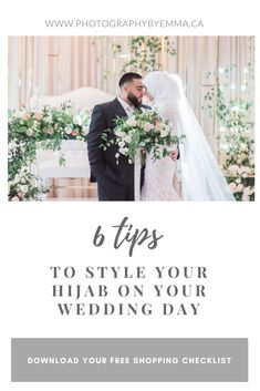 Tips on how to style your hijab on your wedding day for the perfect hijabi bridal look. Easy and simple tips to make sure your hijab looks perfect on your wedding. Disney Wedding Dresses, Hijab Bride, Pakistani Wedding Dresses, Nigerian Weddings, African Weddings, Arab Wedding, Muslim Brides, Wedding Planning Checklist, Bridal Looks
