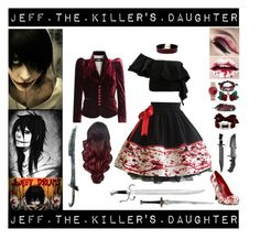 """Jeff the Killer's Daughter"" by laughingjacksdaughter ❤ liked on Polyvore featuring Dsquared2, Funtasma, Viva Aviva, Bling Jewelry, Thomas Sabo, Atelier Swarovski, Valentino, Fallon, Vanessa Mooney and Jeff"