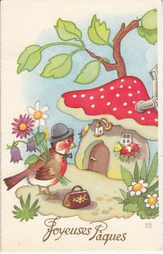 Color inspiration for the Woodlands stamp.  Pretty bird house vintage postcard via eBay.