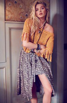 Elsa Hosk - Free People Sweater & Skirt
