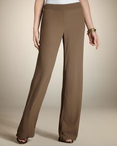 NWT Chico's The Ultimate Fit Boho Crepe Palazzo Brown Pants Sz 2.5 R Lightweight #Chicos #BohoCrepePalazzo