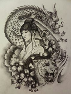 Geisha Tattoos, Geisha Tattoo Design, Thigh Piece Tattoos, Body Art Tattoos, Sleeve Tattoos, Geisha Kunst, Geisha Art, Japanese Drawings, Japanese Tattoo Art