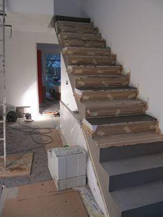 treppe und wand in mineralputz fugenlos f r bad und. Black Bedroom Furniture Sets. Home Design Ideas