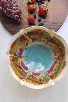 Ceramic Flower Bowl 8 cup in Turquoise Sunrise from Lee Wolfe Pottery >> Love the colors!