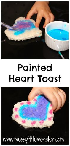 Messy Little Monster: Painted Heart Toast : Valentines Day Snack