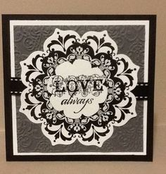 handmade card: Daydream Wedding by sbcreativecanuck ... white, black and gray ... square card ... Daydream Medallions stamps cut with Floral Framelits dies ... elegant!! ... Stampin' Up!