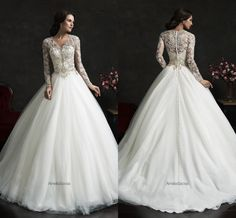 New Amelia Sposa A-Line Wedding Dresses 2015 Lace Long Sleeve Bridal Gowns V Neck Personalized Formal Wedding Party Dress For Bridal #dhgatePin