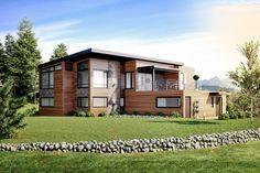 3D visualisering av nybygg i Røros. moderne, funkis uttrykk med trepanel og steinfelter