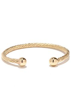 "Round the Twist Gold Bracelet $14  -    A simply chic, gold clutch bracelet with rope-like texture has gold ball capped ends. Bracelet has 2.5"" diameter and adjusts slightly."