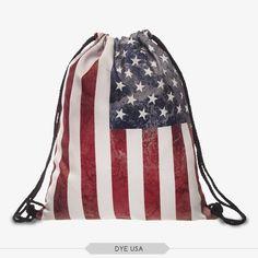 American Flag Draw Sting Bag
