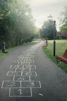Time: This hopscotch installation proves to be temporal because the medium itself is not lasting and eventually will fade.