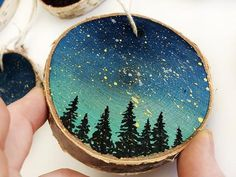Galaxy Ornaments Wood Slice Ornament Rustic Wood Slice Etsy Happy New Year Wooden Christmas Ornaments, Painted Ornaments, Ornaments Design, Christmas Wood, Christmas Crafts, Christmas Decorations, Wood Circles, Galaxy Painting, Wood Slices