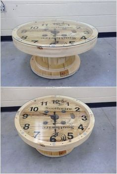 Tables Pallet If any space in your home is in need of any kind of table either big or small then how about doing some recycling? A cable spool can be transformed into a Wooden Spool Tables, Cable Spool Tables, Wooden Cable Spools, Wood Spool, Pallet Tables, Cable Spool Ideas, Recycled Pallets, Wooden Pallets, Recycled Wood