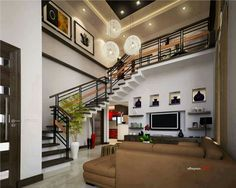 Live In Comfort And Luxury With This Two Story Residential House Plan - Ulric Home Room Interior Design, Interior Exterior, Home Interior, Living Room Interior, Home Living Room, Interior Designing, House Front Design, Small House Design, Dream Home Design