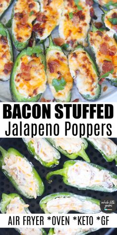 The BEST jalapeno poppers recipe with cream cheese and bacon for either your air fryer or oven. These are also keto jalapeno poppers low carb and gluten free and make a healthy snack or appetizer. Jalapeno Bacon, Cream Cheese Jalapeno Poppers, Jalapeno Popper Recipes, Cream Cheese Stuffed Jalapenos, Bacon Recipes, Mexican Food Recipes, Appetizer Recipes, Bacon Dip, Healthy Jalepeno Poppers