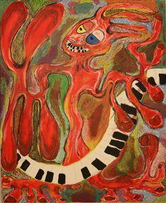 Keyboardist / Maarit Korhonen, acrylic, oil pastel, canvas, 73cm x 60cm Dark Paintings, Original Paintings, Online Painting, Artwork Online, Dancer In The Dark, Autumn Painting, Original Art For Sale, Artists Like, House Painting