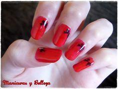 Red with black bows nail art // Manicura en rojo y lazos negros sexy