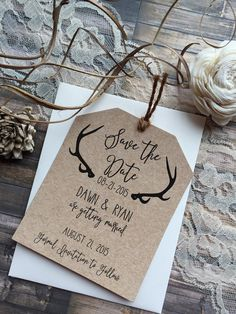 The save the date pictured is printed on straw kraft cardstock and can be customized with the colors to match your wedding and the wording that you choose. My save the date tags are sized 3.75x4.5 (printing on front only) with a twine, ribbon, or raffia tie (in your color choice)