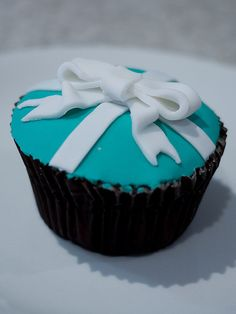 Tiffany Blue Bow Cupcake