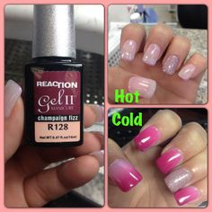That New New!! Reaction Gel II Manicure Champagne Fizz R128 with 53 Shellac reacts to hot and cold temperature!