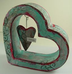 --use heart shaped box and insert hanging heart