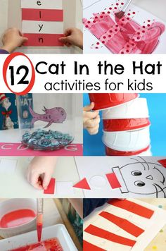 Cat In the Hat activities - perfect ideas for preschoolers! Use a favorite book to explore pre-writing, shapes, colors, science, sensory, cooking, name recognition, numbers, and shapes !