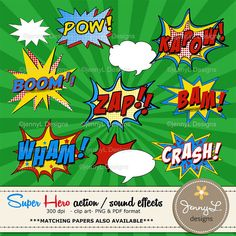 Comic Sound Effects clipart Superheroes by JennyLDesignsShop