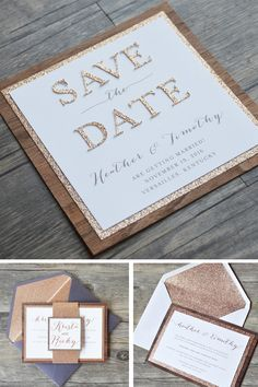 Save the Date - gold & white
