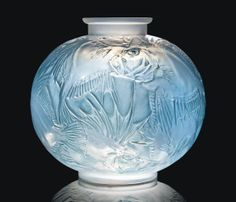 POISSONS VASE, NO. 925 designed 1921, cased opalescent and blue stained moulded R. LALIQUE engraved R. Lalique France
