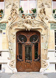 Paris Photography, Parisian Art Nouveau Door Photo. Art Nouveau Photo, Paris Home Decor, Architect Lavirott Ceramic Bigot. French Home Decor by seardig on Etsy