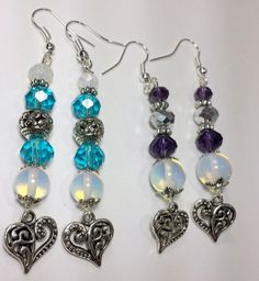 Heart dangle earrings Blue and Purple with by B4Jjewelrydesigns