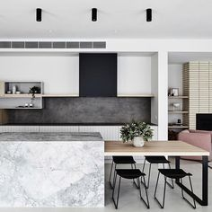 The Design Files: What happened when an interior stylist bought the worst home on the best street Kitchen Island Dining Table, Kitchen Benches, Kitchen Cabinets, Dining Tables, Kitchen Interior, New Kitchen, Kitchen Decor, Asian Kitchen, Kitchen Ideas