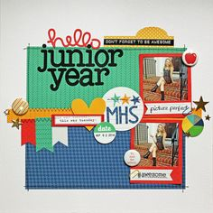 Lawn Fawn - Sweater Weather 12x12 paper, Louie's ABCs, Finley's ABCs, Say Cheese + coordinating die, #awesome, Scripty Hello _ Hello-Junior-Year layout by Kathy via Flickr - Photo Sharing!