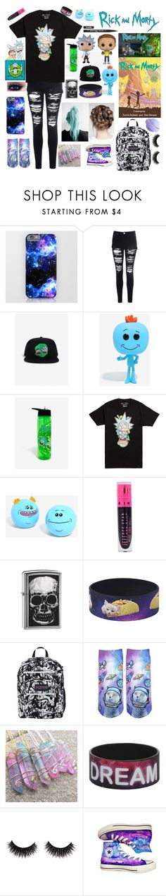 """Weekend clothes"" by frankie-and-gee ❤ liked on Polyvore featuring Glamorous, Hot Topic, Funko, Kat Von D, Jeffree Star, Zippo, JanSport and Converse"