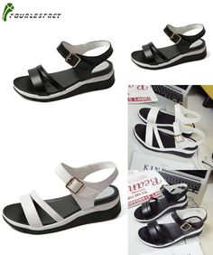 [Visit to Buy] 2017 summer shoes flat sandals women PU leather flat with black and white  colors fashion sandals comfortable old shoes 35-40 #Advertisement