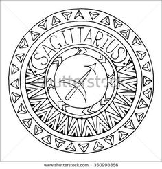 Zodiac sign of sagittarius and constellation in mandala with ethnic pattern. Black and white icon. Horoscope and zodiacal template. Can be used for  coloring book. Hand drawn doodle circle.