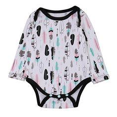 da88b00ec69 Baby Boys Romper Leaves Print Bodysuit Long Sleeve Pajamas Girls OnePiece  1218months Multi   Check out