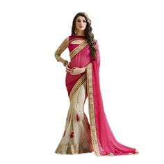 Buy Pink & White Net Embroidered Saree With Blouse online. ✯ 100% authentic products, ✯ Hand curated, ✯ Timely delivery, ✯ Craftsvilla assured.