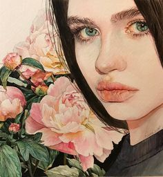 Reina Yamada is an artist who works actively in Japan and is the author of many works of watercolor art. Watercolor Face, Watercolor Portraits, Watercolor Paintings, Gouache Painting, Watercolor Design, Watercolors, Art And Illustration, Watercolor Illustration, Illustrations