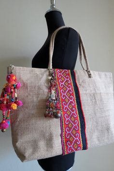 Hmong Ethnic handwoven Hemp handbag, handmade Bohemian bags and purses-from Thailand – 2019 - Bag Diy Handmade Fabric Bags, Handmade Handbags, Ethnic Bag, Hemp Fabric, Boho Bags, Jute Bags, Craft Bags, Simple Bags, Shopper
