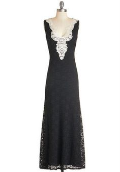 Radiant Reader Dress. Celebrate the release of your latest chapbook by wearing this black, lace maxi dress for your reading! #black #modcloth