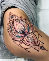 Tattoos for women Lace Thigh Tattoos, Upper Thigh Tattoos, Waist Tattoos, Leg Tattoos Women, Lace Tattoo, Sleeve Tattoos, Thigh Tattoos For Girls, Tattoo Thigh, Hippe Tattoos